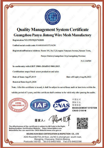 China Guangzhou Panyu Jintong Wire Mesh Manufactory Certification